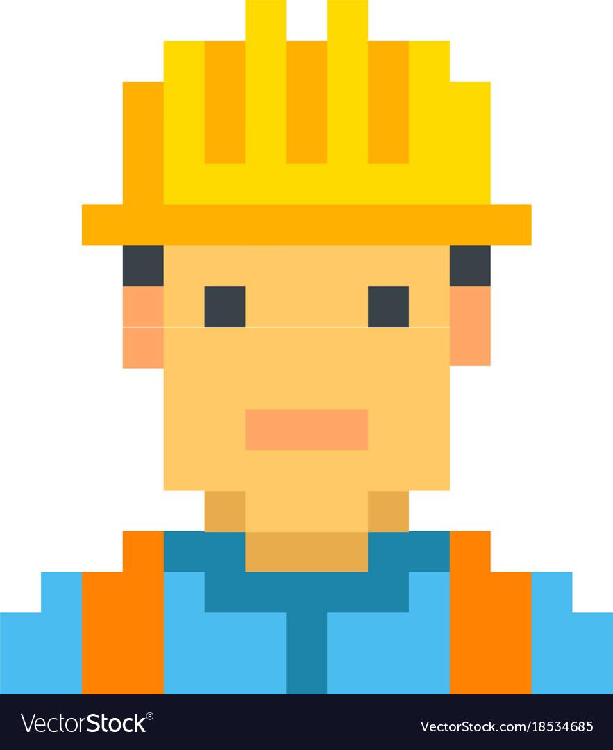 Construction worker builder pixel art cartoon