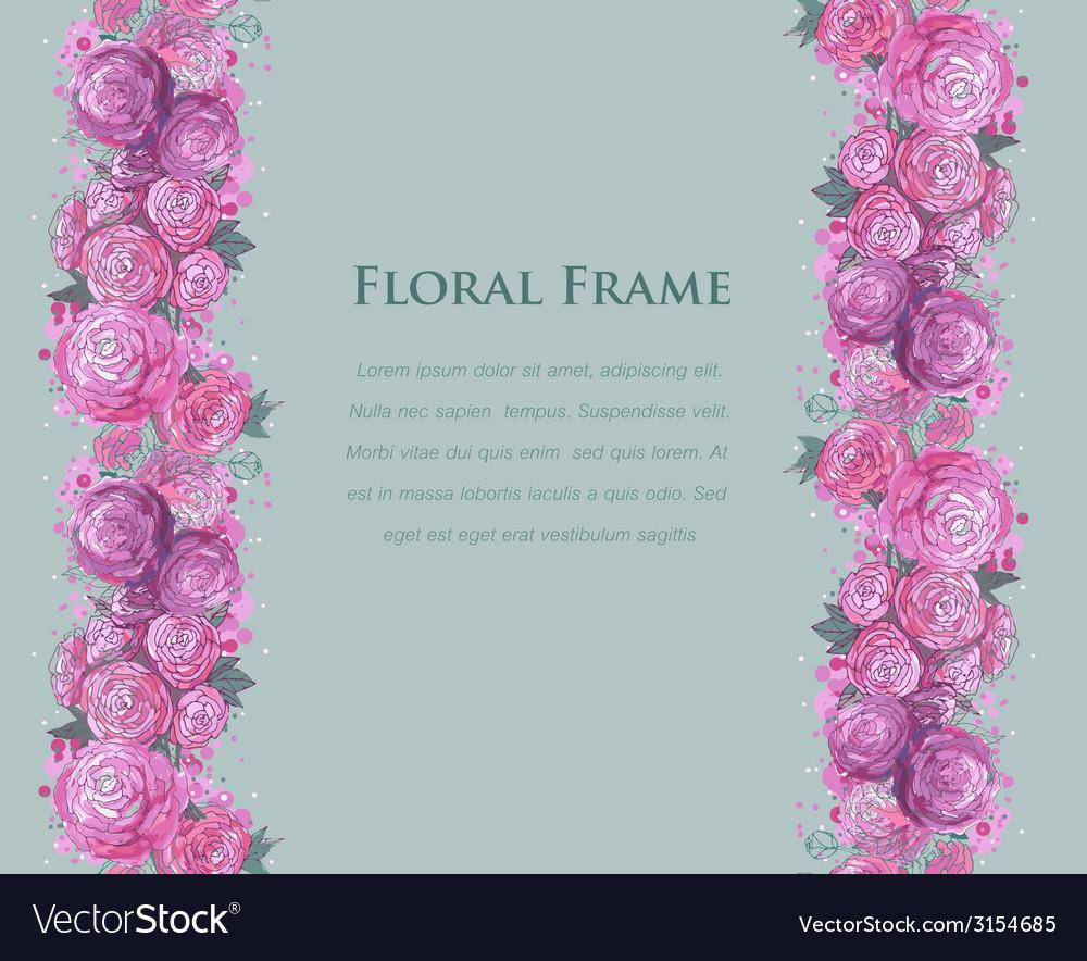 Floral watercolor border