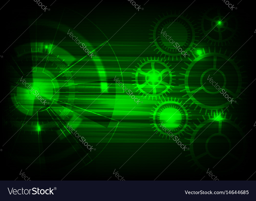Green Tech Background With Shining Abstract