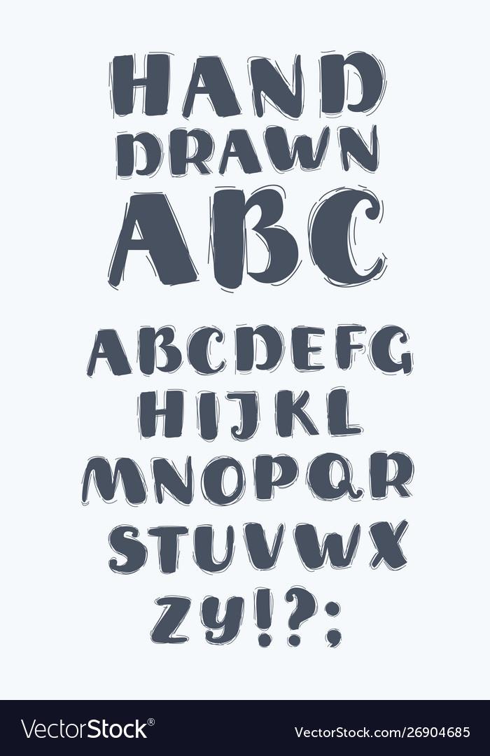 Hand drawn abc upper case letters set