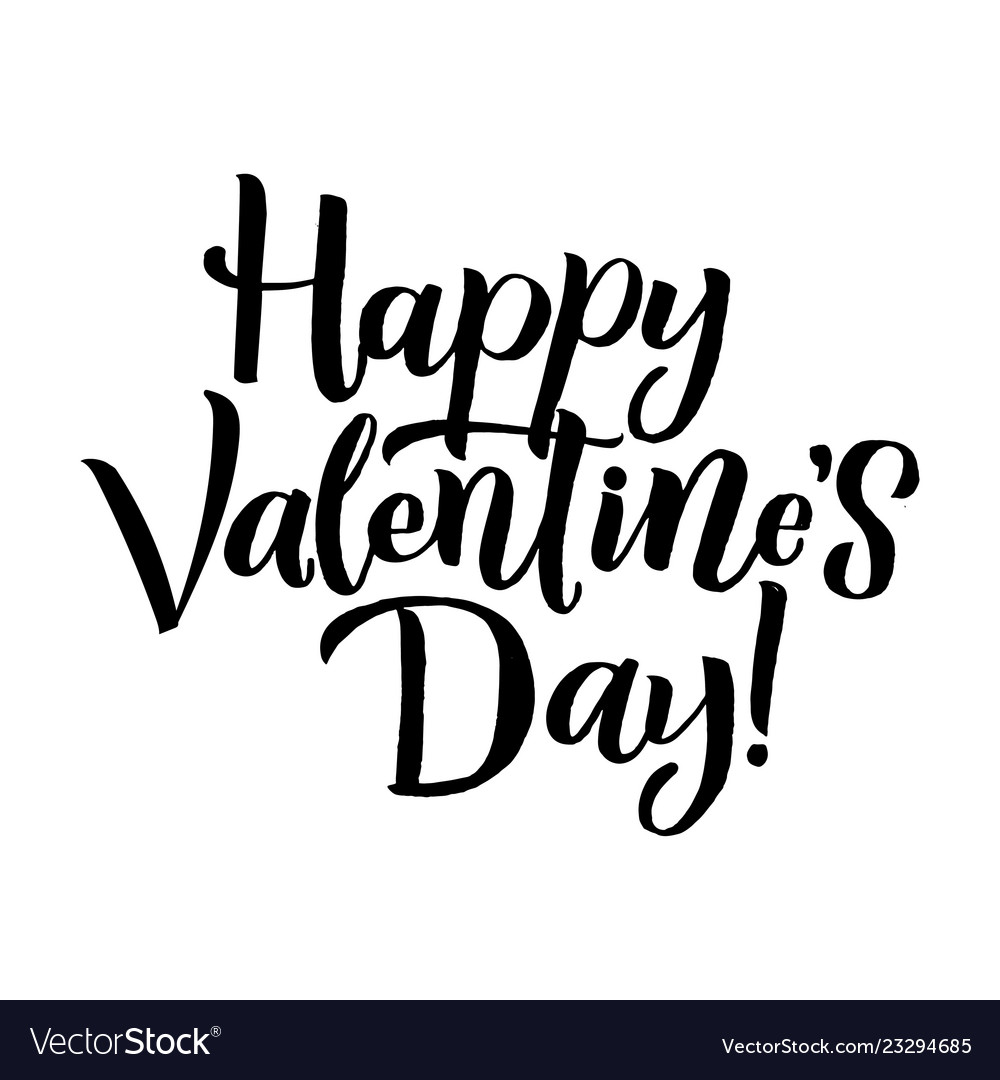 Happy valentines day black lettering white