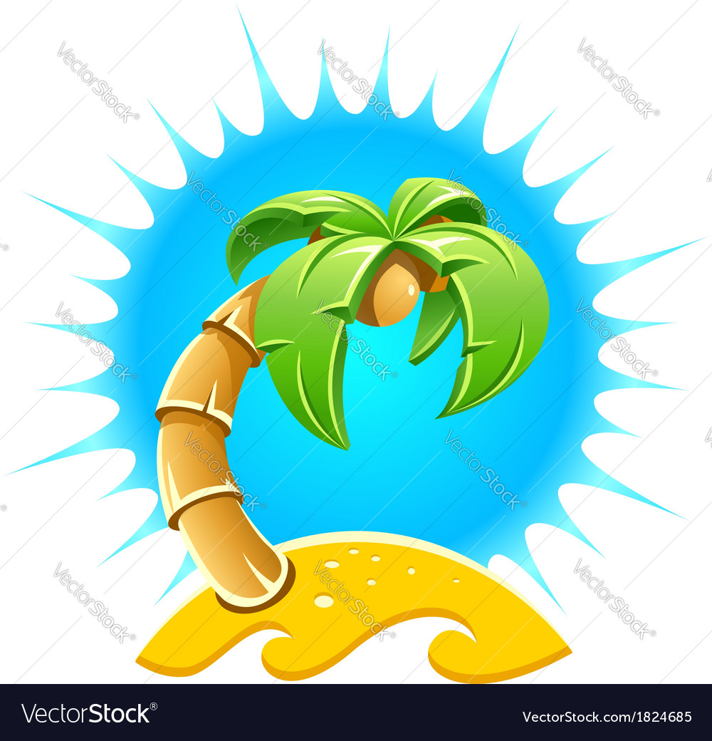 Island with palm and sand vector image