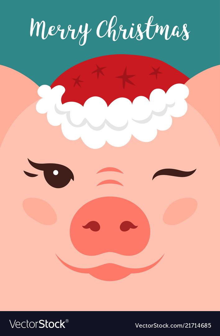 Merry christmas card funny christmas pig cartoon