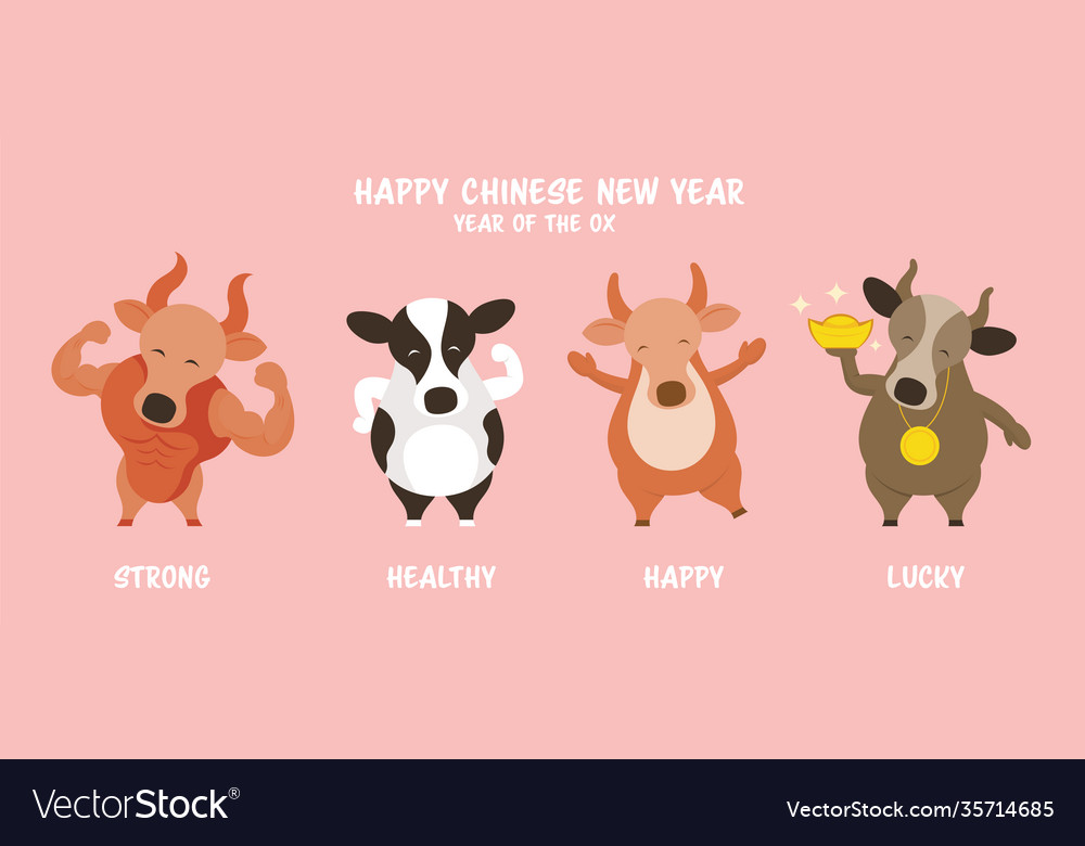 Ox cow bull character greeting chinese new year