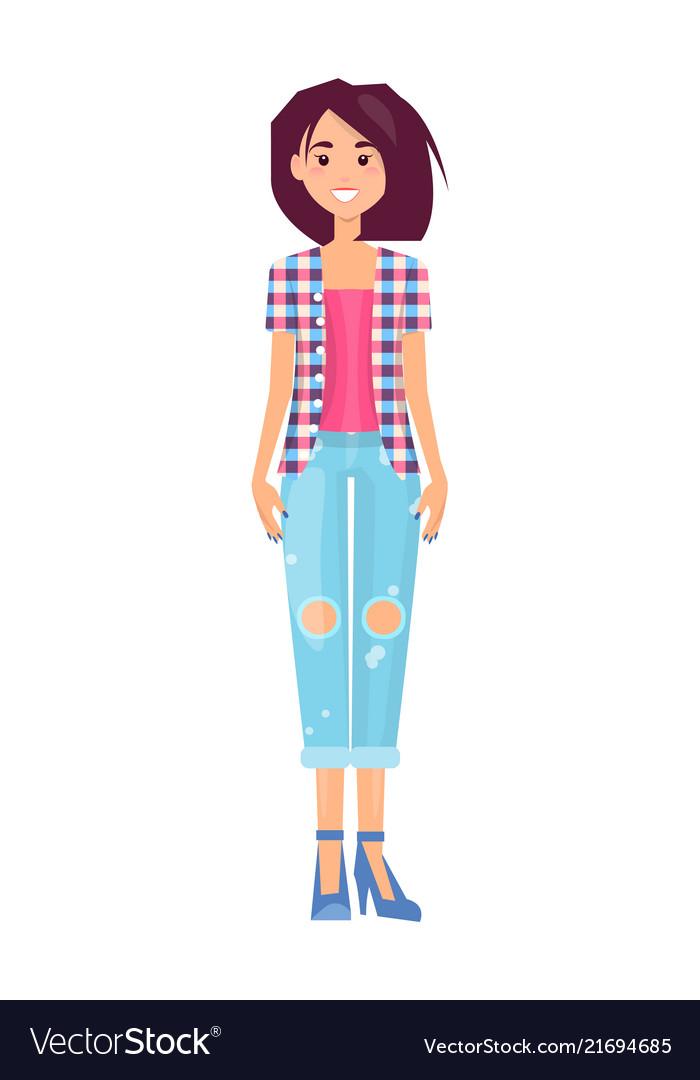 Pretty brunette in fashionable jeans trousers