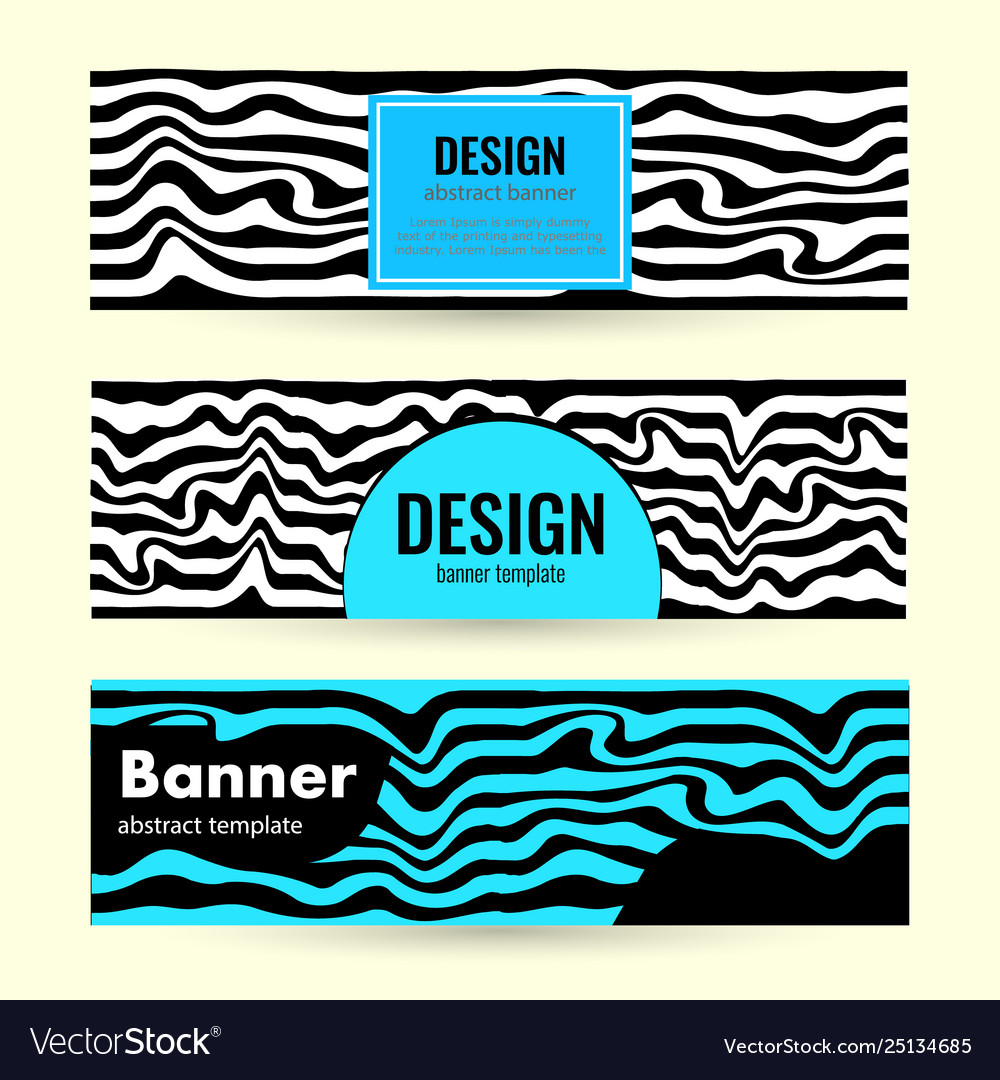 Set horizontal color banners with bright waves on
