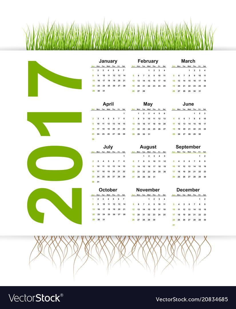 Simple calendar 2017 year grass style