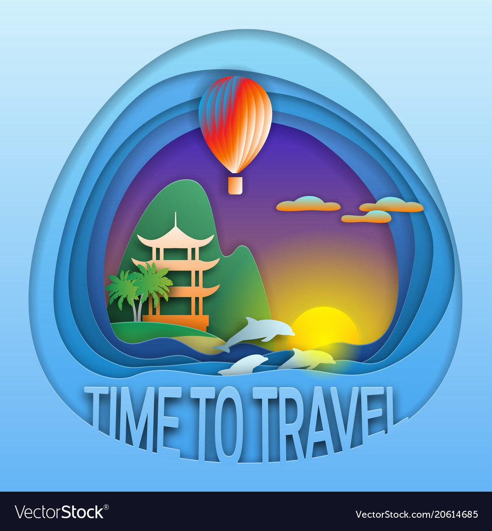 Time to travel emblem template sunset with hot