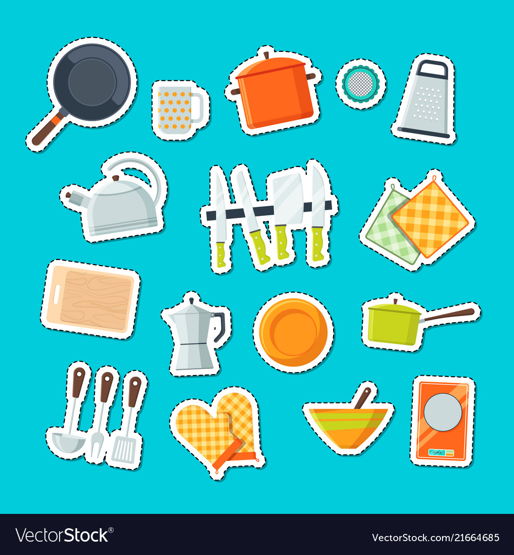 Utensils flat icons stickers set