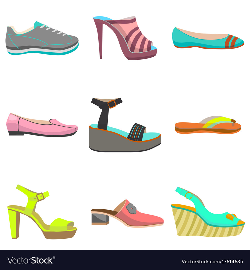 Woman Shoes Set In Cartoon Style Royalty Free Vector Image