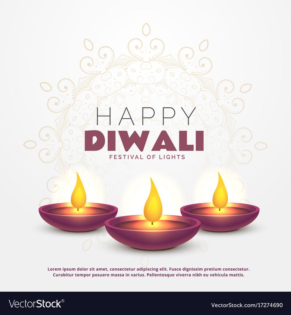 Beautiful Happy Diwali Greeting With Burning Diya Vector Image