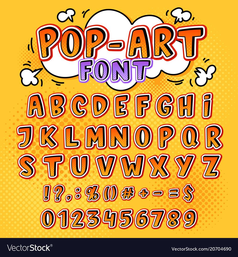 Comic font cartoon alphabet letters in pop