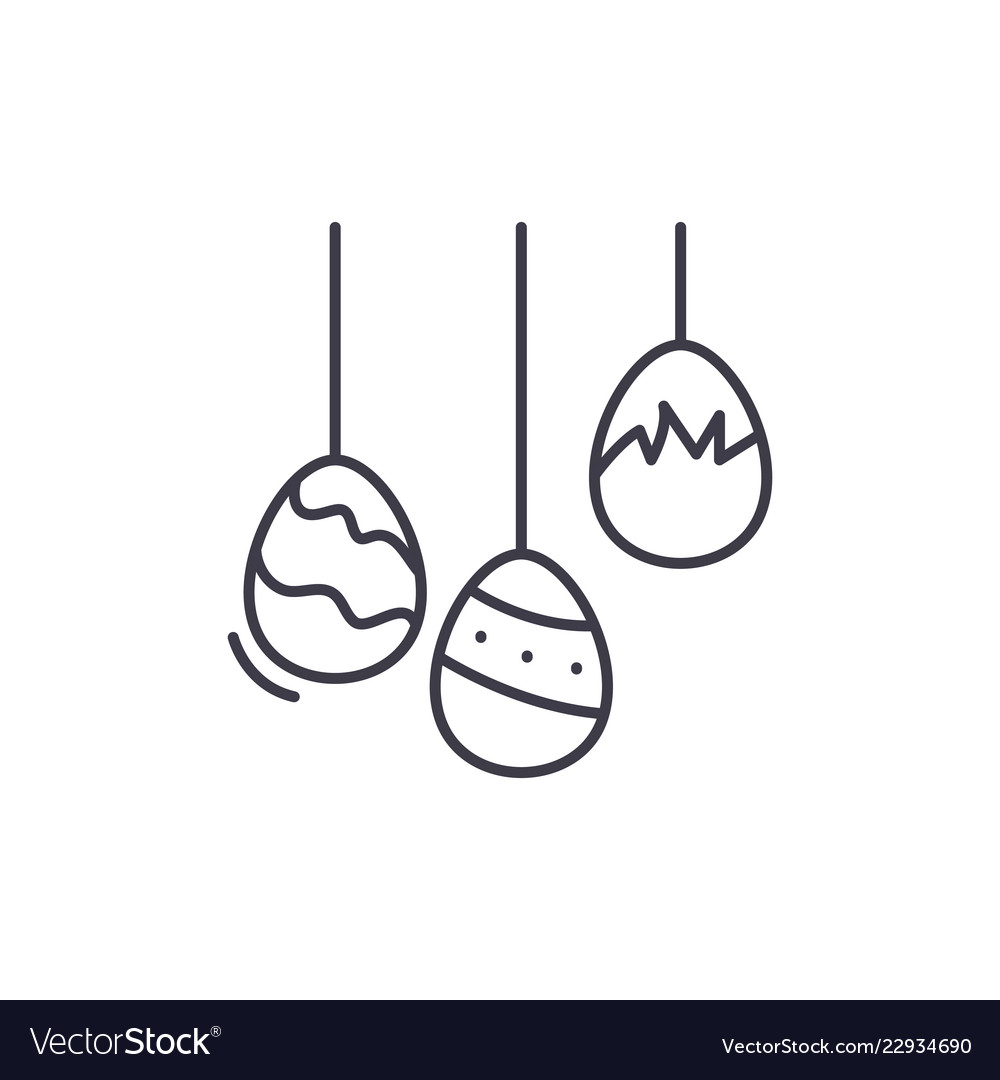 Easter eggs line icon concept easter eggs