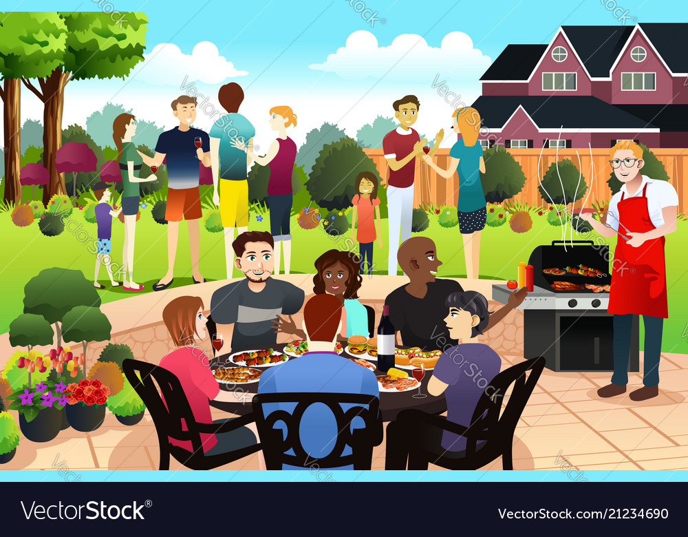 Friends and family gather together having bbq
