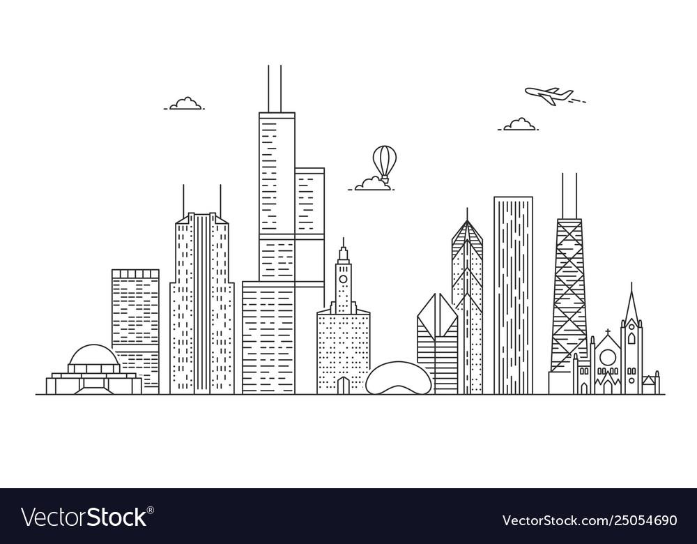Linear chicago city skyline