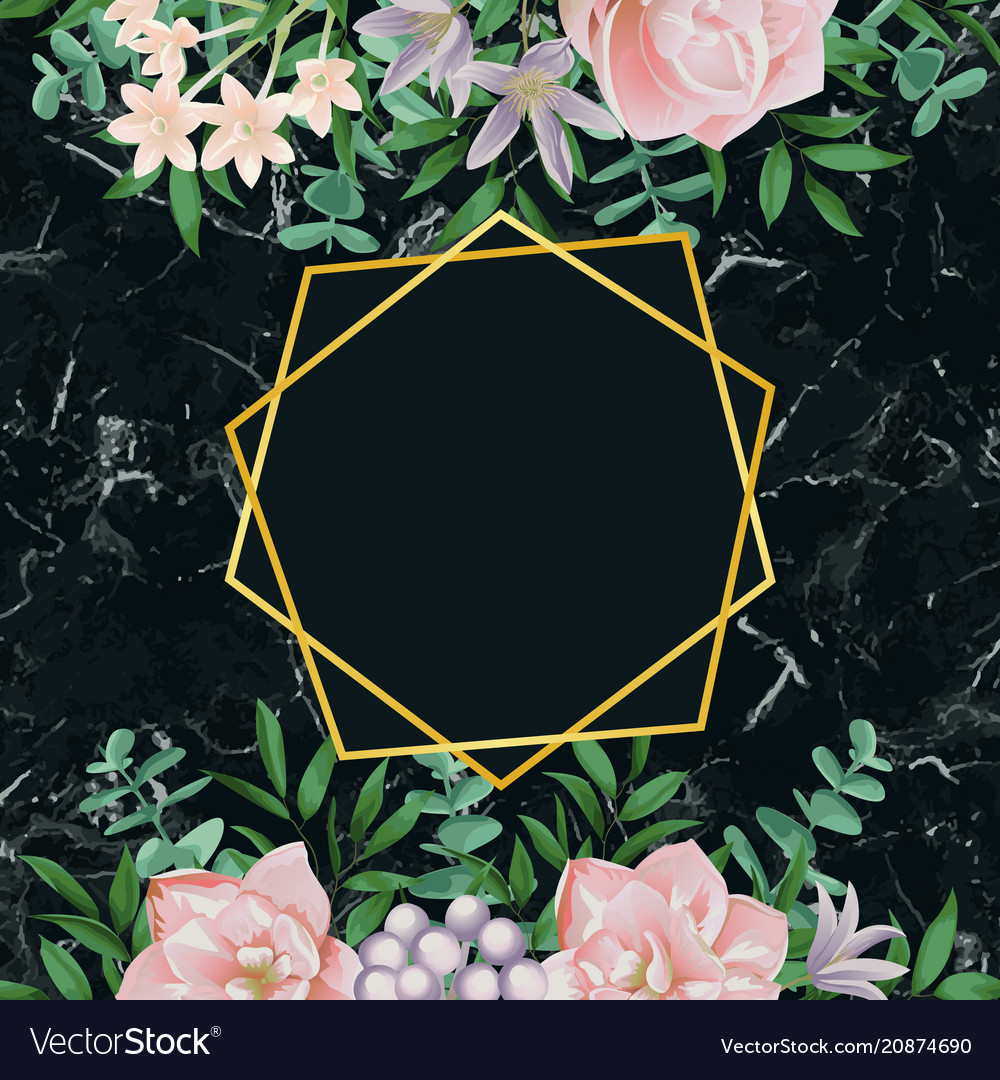 Luxury template with pink flowers on black marble vector image mightylinksfo