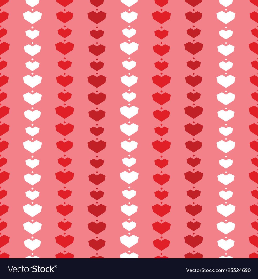 Red geometric hearts stripes seamless pattern
