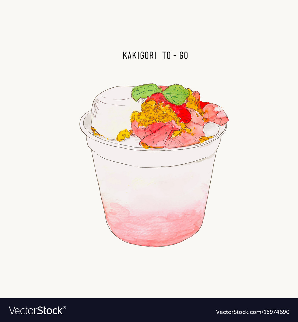 Strawberry pudding crumble kakigori hand drawn vector image