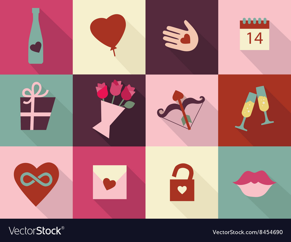 Valentines day cards set heart icons symbols