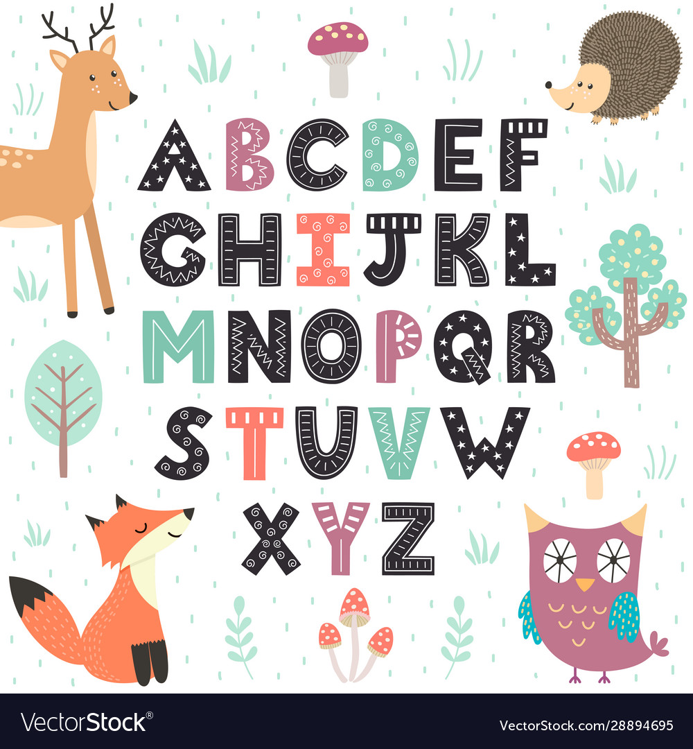 Alphabet poster with cute forest animals wall art