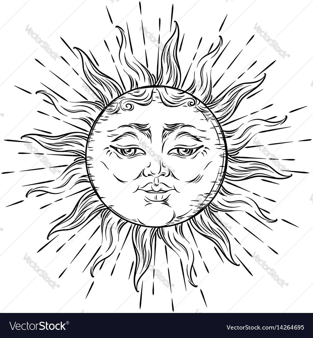 Antique style hand drawn art sun boho chic tattoo