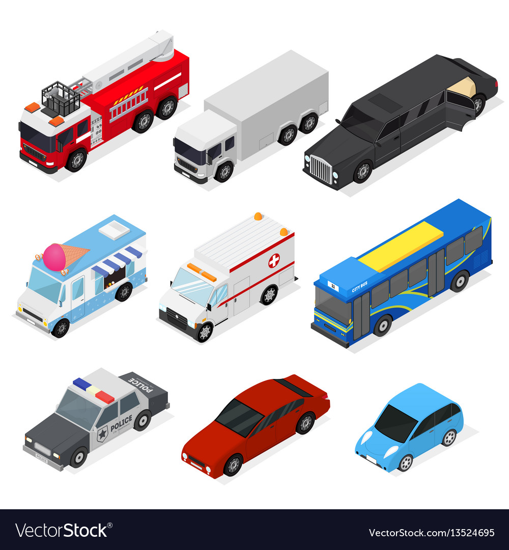 Cars set isometric view vector image