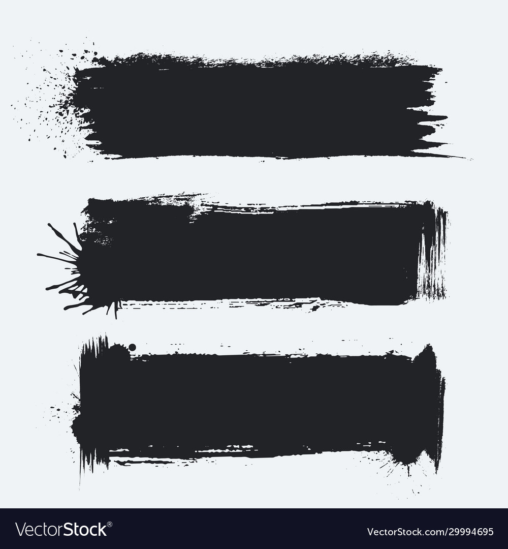 Detailed grunge banners set ink painted brush