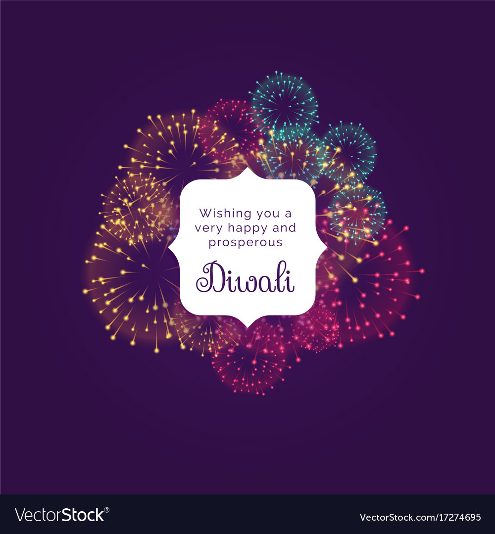 Diwali Wishes Greeting Card Design With Colorful Vector Image