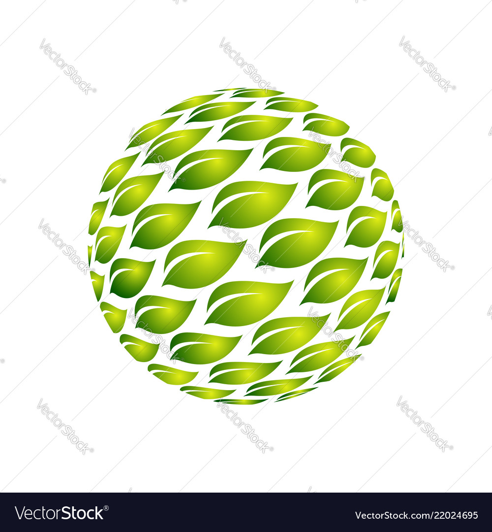 Green leaves symmetry logo template for ecology