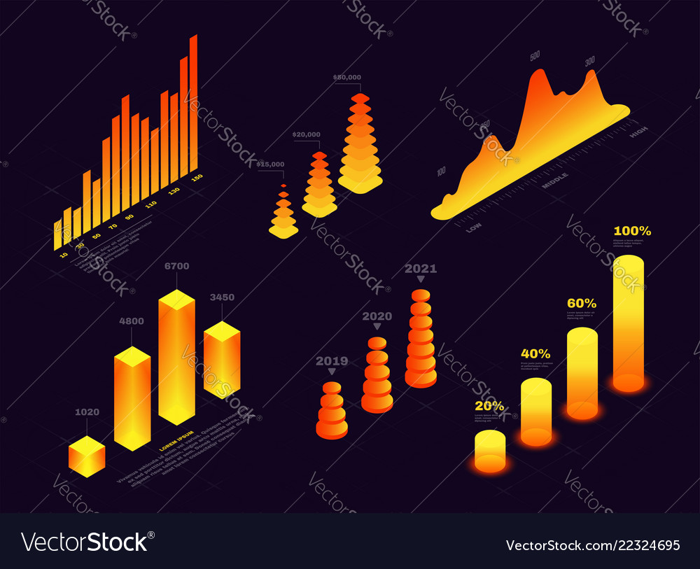 Isometric elements for infographic and report