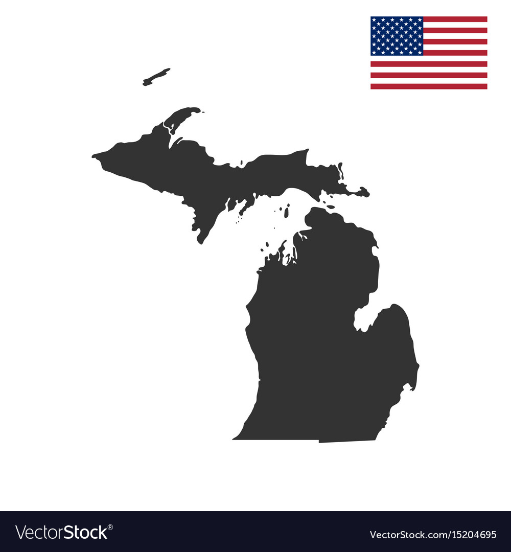 Map of the us state of michigan Royalty Free Vector Image