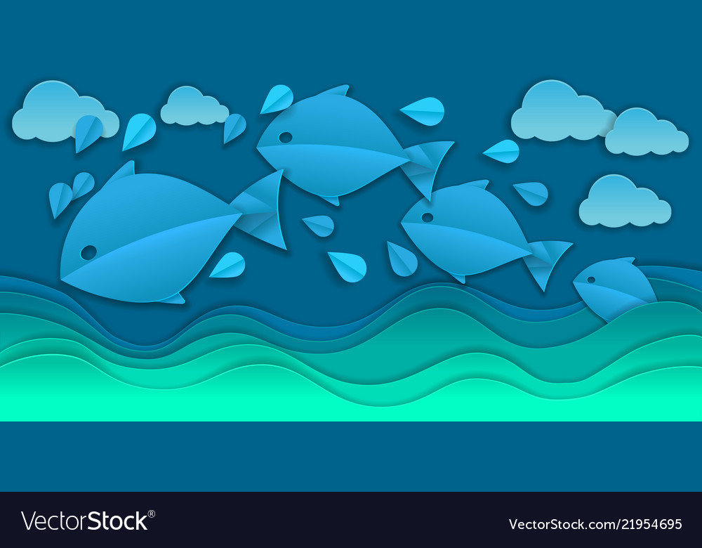 Paper cut sea and fishes