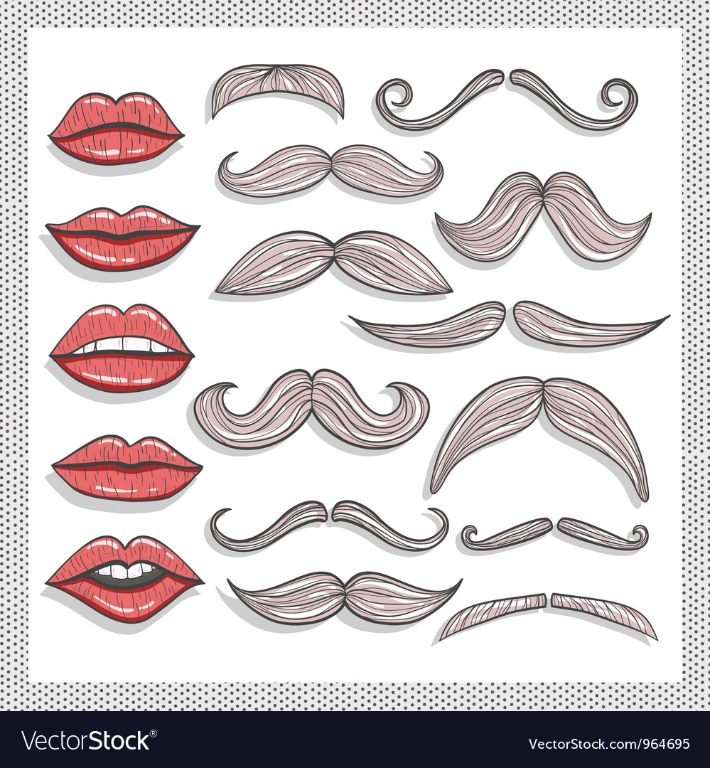Retro lips and mustaches elements set