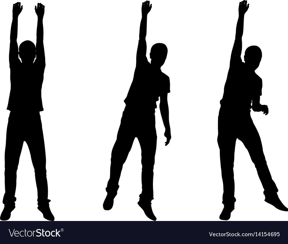Set of men hanging silhouettes
