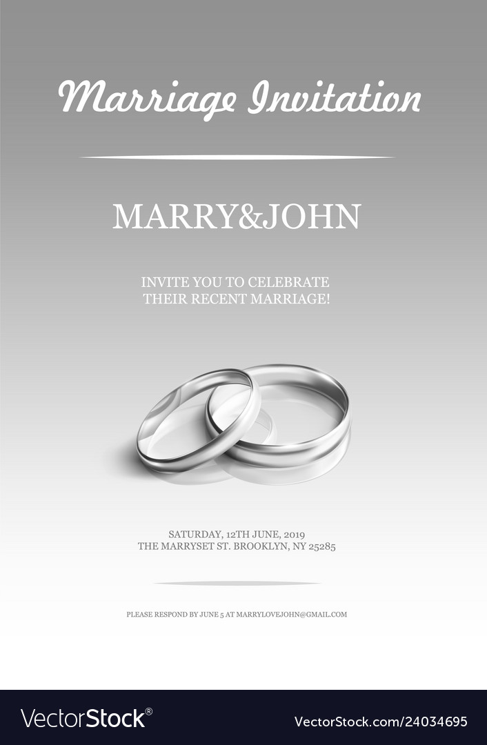 Simple Invitation Card With Wedding Rings On