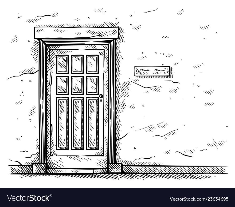 Sketch hand drawn old rectangular wooden door in