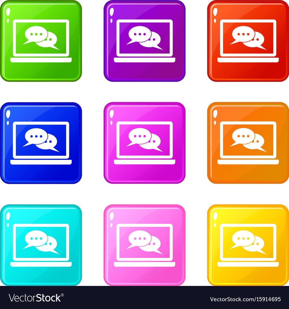 Speech bubbles on laptop screen icons 9 set