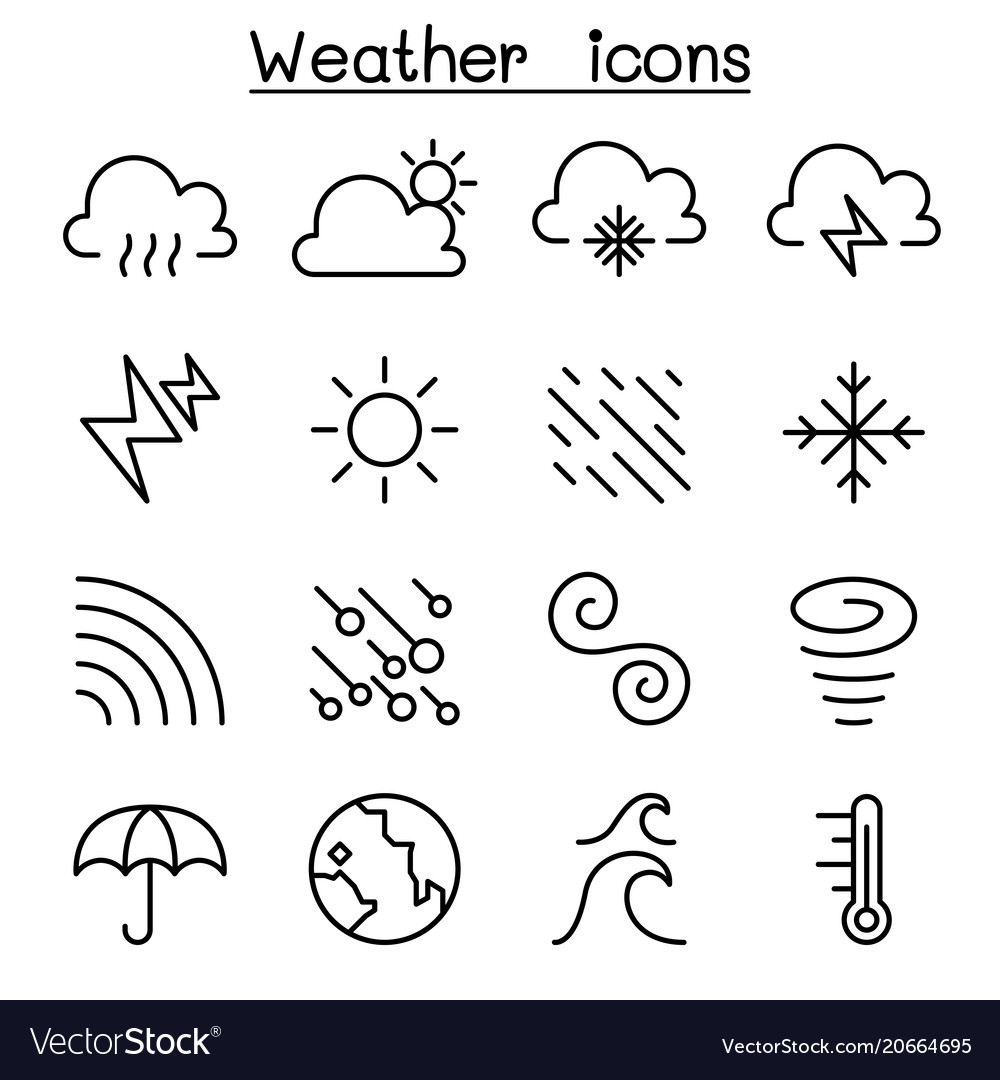 Weather meteorology climate icon set in thin