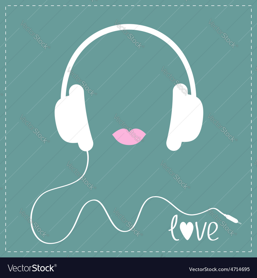 White Headphones With Cord Pink Lips Love Music Vector Image