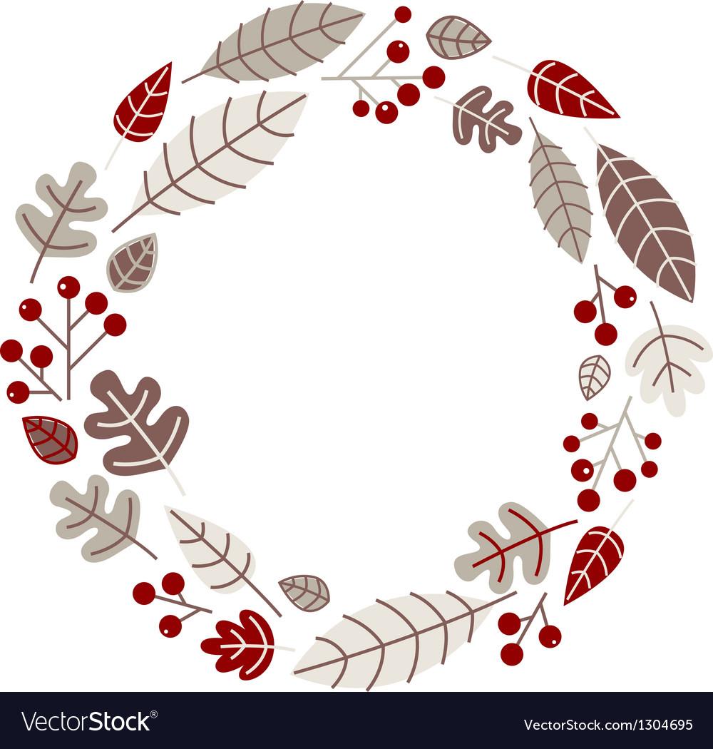 Xmas retro holiday wreath isolated on white vector image