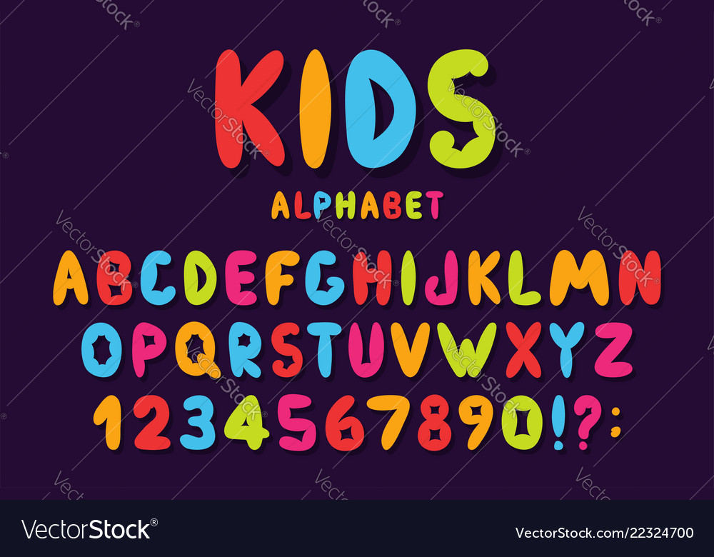Childrens font in cartoon style colorful bubble