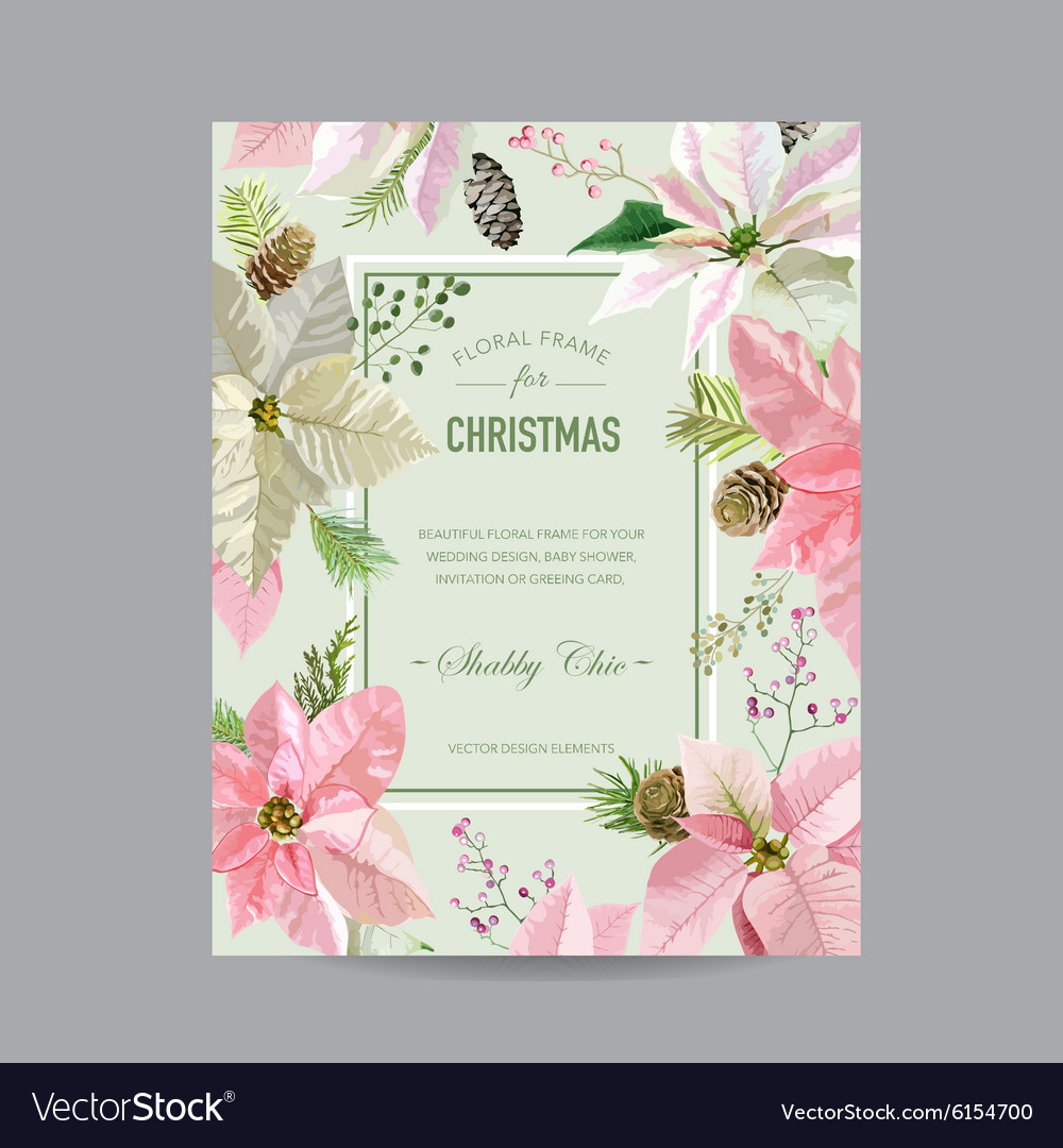 Christmas Frame or Card - in Watercolor Style vector image