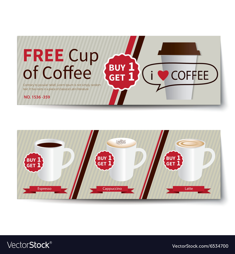 Coffee coupon discount template flat design