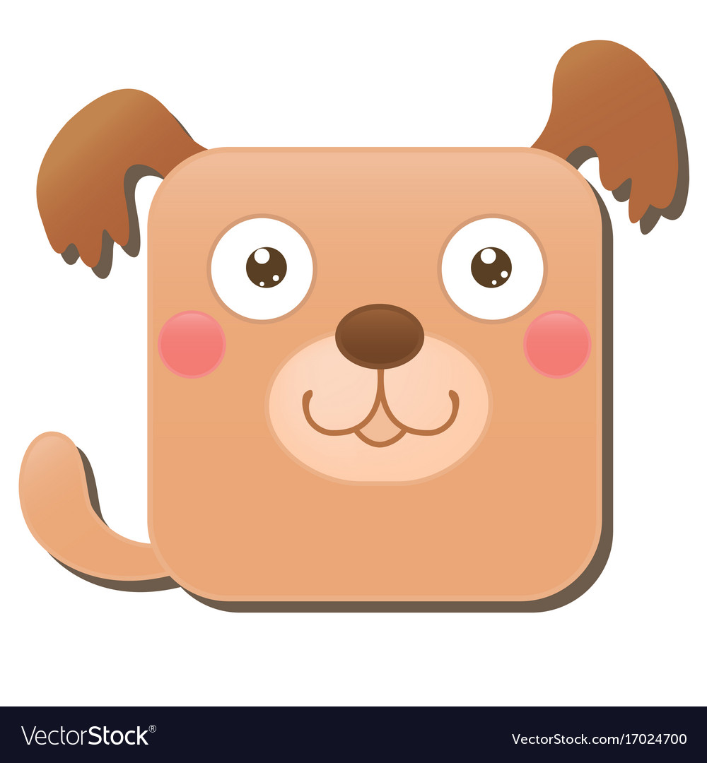 Cute square dog isolated on white background