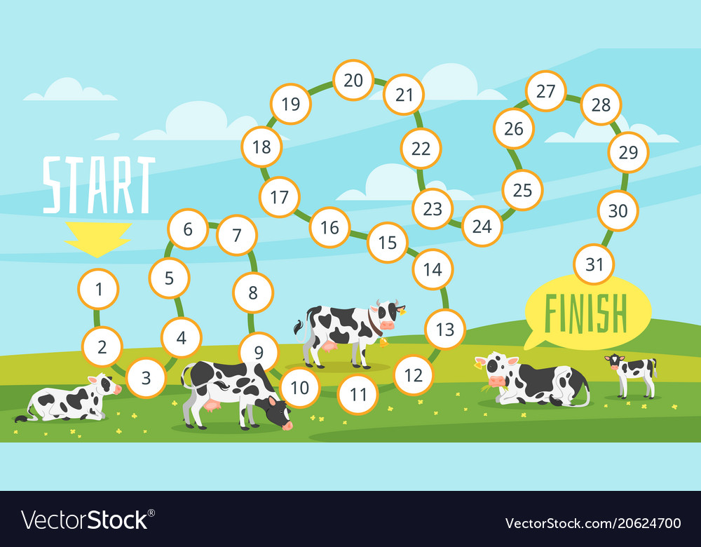 Farm board game template Royalty Free Vector Image