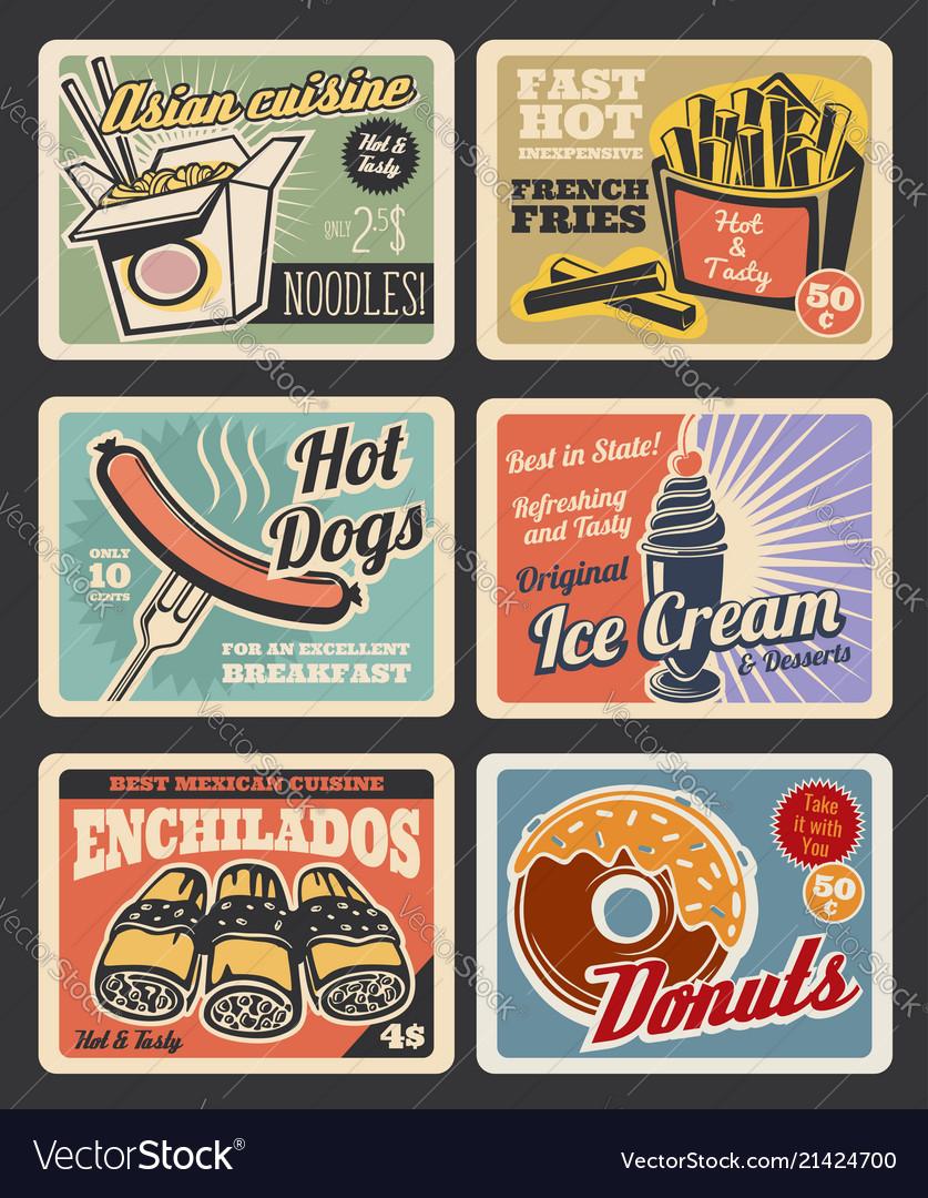 Fast Food Restaurant Menu Retro Posters Royalty Free Vector