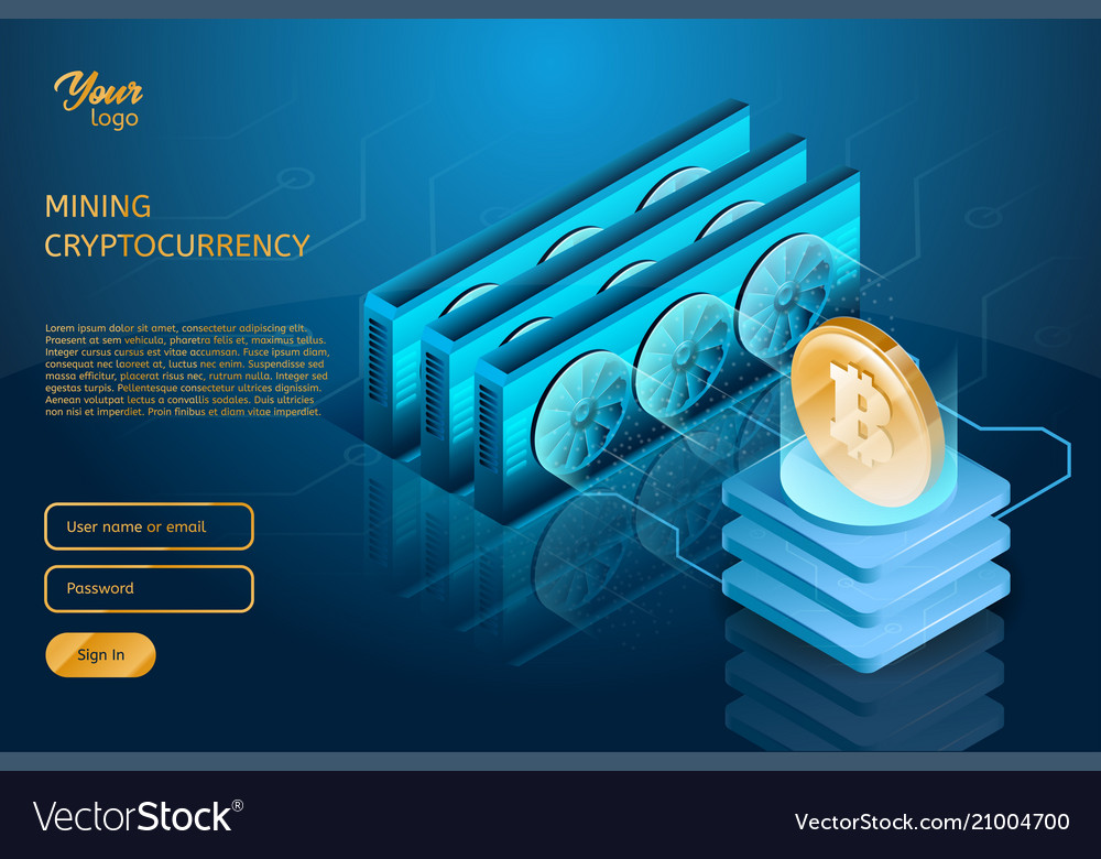 Process Of Mining The Bitcoin Cryptocurrency Vector Image