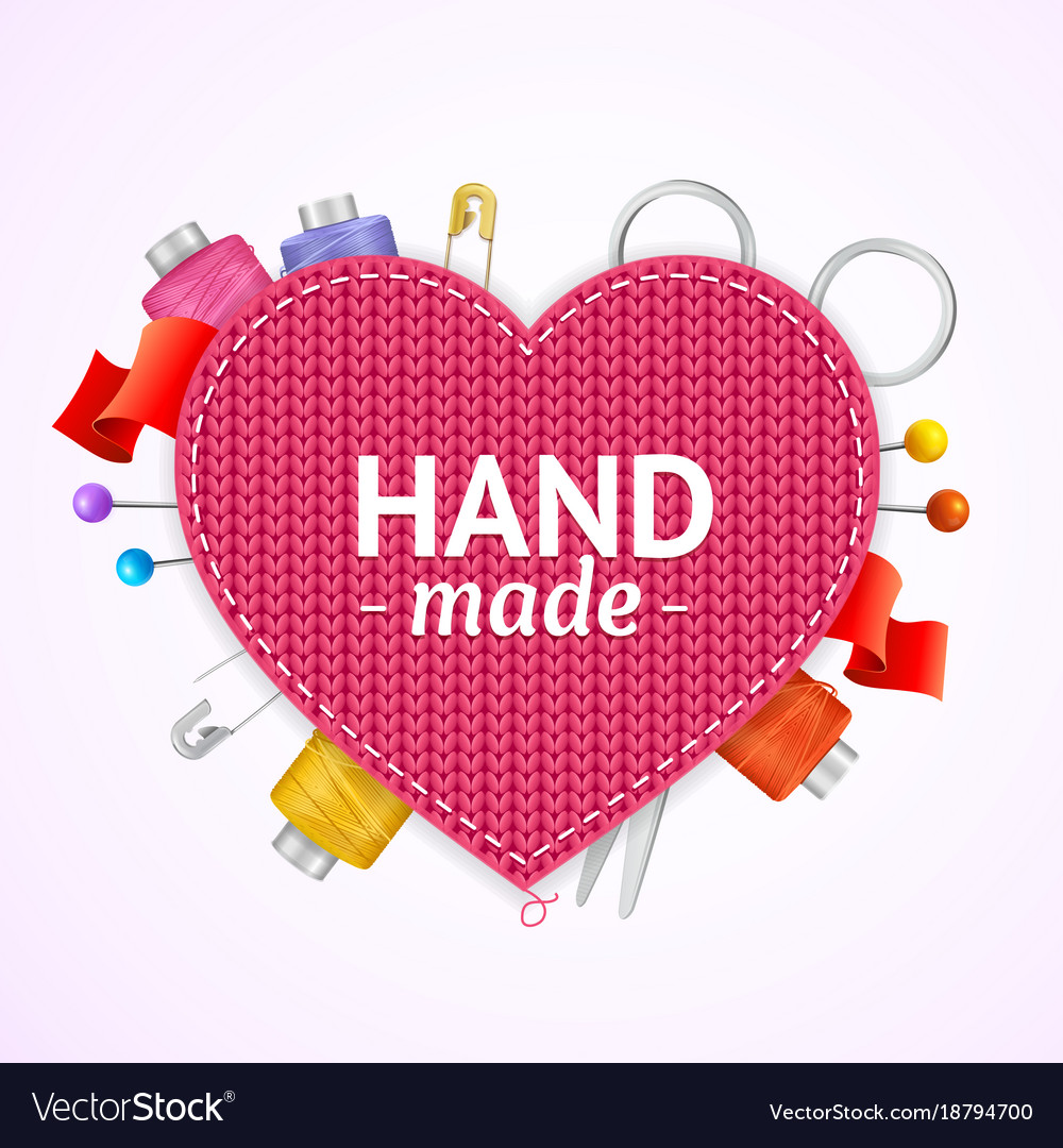 Realistic 3d hand made knitted concept vector image