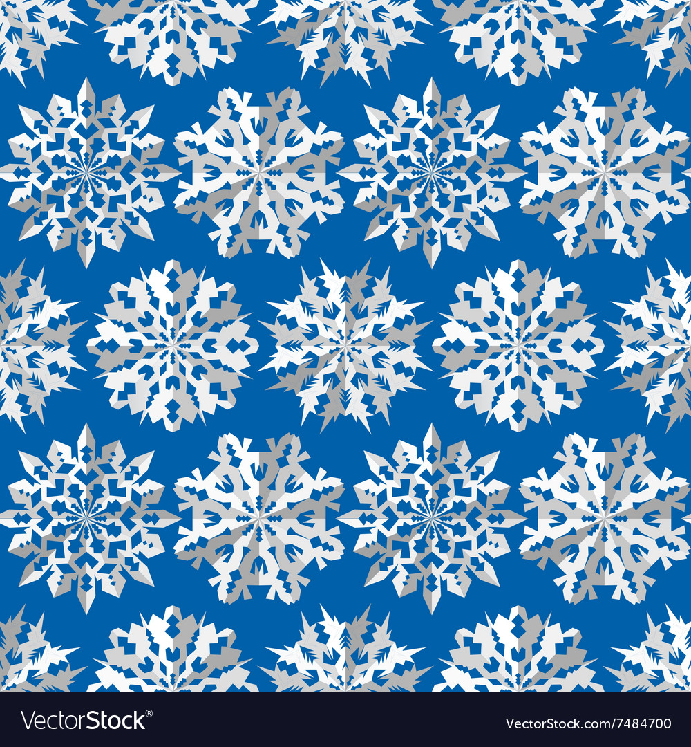 Seamless Christmas Pattern Origami Snowflakes Vector Image