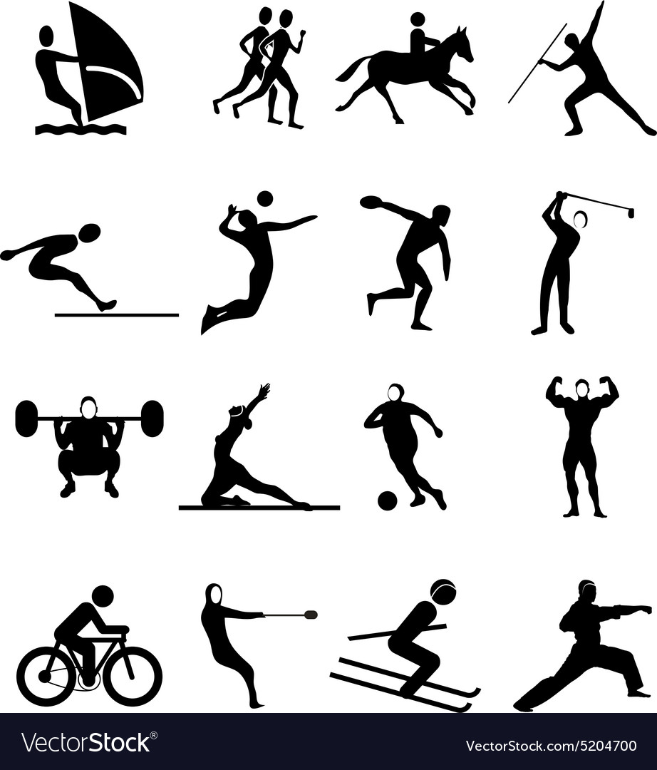 Sports people icons set